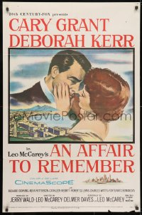 3j016 AFFAIR TO REMEMBER 1sh 1957 romantic c/u art of Cary Grant about to kiss Deborah Kerr!