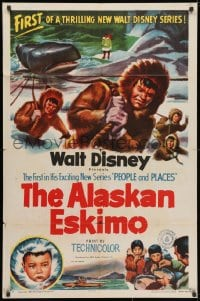 3j022 ALASKAN ESKIMO 1sh 1953 Walt Disney, art of arctic natives, People & Places series!