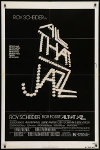 3j025 ALL THAT JAZZ 1sh 1979 Roy Scheider, Jessica Lange, Bob Fosse musical, title in lights!