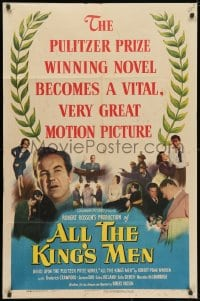 3j026 ALL THE KING'S MEN 1sh 1949 Louisiana Governor Huey Long biography with Broderick Crawford!