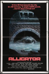 3j028 ALLIGATOR 1sh 1980 cool different artwork of twisted alligator by J. Lamb!