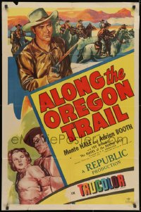 3j029 ALONG THE OREGON TRAIL 1sh 1947 Monte Hale, Adrian Booth & Clayton Moore in cowboy action!