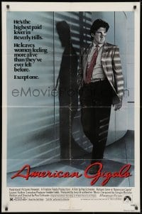 3j030 AMERICAN GIGOLO 1sh 1980 male prostitute Richard Gere is being framed for murder!