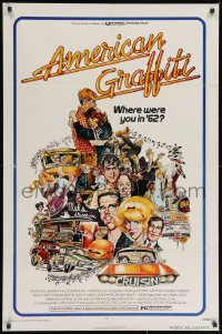 3j031 AMERICAN GRAFFITI 1sh 1973 George Lucas teen classic, Mort Drucker montage art of cast!