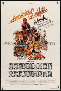 3j032 AMERICAN GRAFFITI 1sh R1978 George Lucas, great wacky Mort Drucker artwork of cast & images!