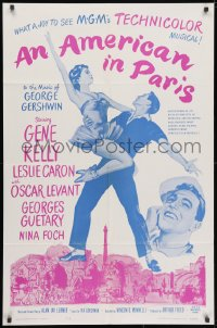 3j033 AMERICAN IN PARIS 1sh R1963 Gene Kelly with sexy Leslie Caron, great images of musical!