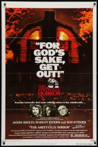 3j035 AMITYVILLE HORROR 1sh 1979 great image of haunted house, for God's sake get out!