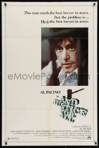 3j036 AND JUSTICE FOR ALL 1sh 1979 directed by Norman Jewison, Al Pacino is out of order!
