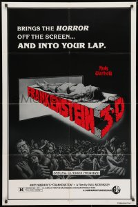 3j037 ANDY WARHOL'S FRANKENSTEIN 1sh R1980s cool 3D art of near-naked girl coming off screen!