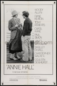 3j040 ANNIE HALL 1sh 1977 full-length Woody Allen & Diane Keaton in a nervous romance!