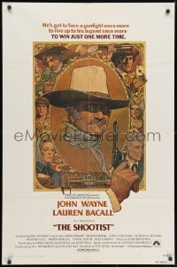 3j801 SHOOTIST 1sh 1976 best Richard Amsel artwork of cowboy John Wayne & cast!