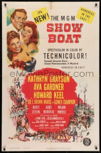 3j804 SHOW BOAT 1sh 1951 singing Kathryn Grayson, sexy Ava Gardner, Howard Keel, Joe E. Brown!