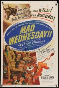 3j810 SIN OF HAROLD DIDDLEBOCK 1sh R1950 Preston Sturges, Harold Lloyd & lion, Mad Wednesday!