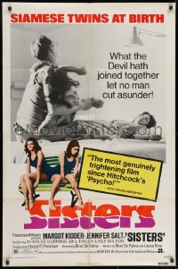 3j813 SISTERS 1sh 1973 Brian De Palma, Margot Kidder is a set of conjoined twins!