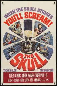 3j814 SKULL 1sh 1965 Peter Cushing, Christopher Lee, cool horror artwork of creepy skull!