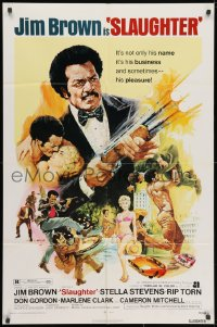 3j816 SLAUGHTER 1sh 1972 AIP, G. Akimoto artwork of shotgun-blasting Jim Brown & sexy girl!