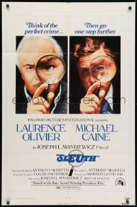 3j819 SLEUTH 1sh 1972 close-ups of Laurence Olivier & Michael Caine with magnifying glasses!