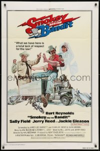 3j820 SMOKEY & THE BANDIT 1sh 1977 art of Burt Reynolds, Sally Field & Jackie Gleason by Solie!