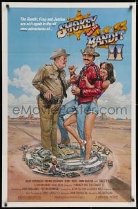 3j821 SMOKEY & THE BANDIT II 1sh 1980 Goozee art of Burt Reynolds, Jackie Gleason & Sally Field!