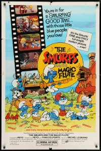 3j822 SMURFS & THE MAGIC FLUTE 1sh 1983 feature cartoon, great Peyo art!