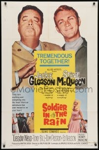 3j823 SOLDIER IN THE RAIN 1sh 1964 close-ups of misfit soldiers Steve McQueen & Jackie Gleason!