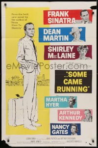 3j824 SOME CAME RUNNING 1sh 1958 full-length art of Frank Sinatra w/Dean Martin, Shirley MacLaine