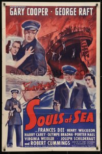 3j832 SOULS AT SEA style A 1sh R1943 sailors Gary Cooper & George Raft + sexy Frances Dee!