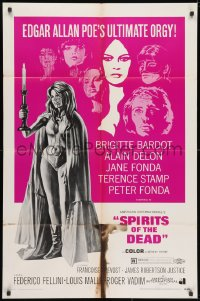 3j834 SPIRITS OF THE DEAD 1sh 1969 Federico Fellini, Reynold Brown artwork of sexy Jane Fonda!