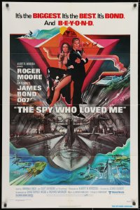 3j838 SPY WHO LOVED ME 1sh 1977 great art of Roger Moore as James Bond by Bob Peak!