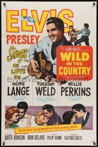 3j972 WILD IN THE COUNTRY 1sh 1961 Elvis Presley sings of love to Tuesday Weld, rock & roll musical