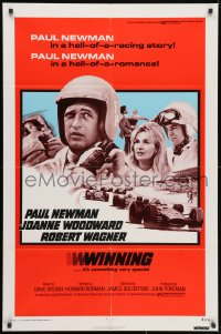 3j979 WINNING 1sh R1973 Paul Newman, Joanne Woodward, Indy car racing images!