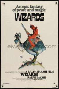 3j984 WIZARDS 1sh 1977 Ralph Bakshi directed animation, cool fantasy art by William Stout!