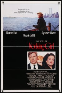 3j989 WORKING GIRL studio style 1sh 1988 Harrison Ford, Melanie Griffith & Sigourney Weaver, NYC!