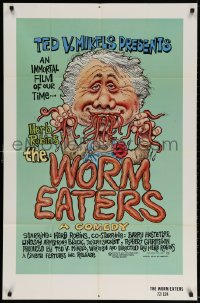 3j990 WORM EATERS 1sh 1977 Ted V. Mikels gross-out classic, great wacky artwork by Green!