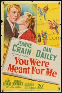3j994 YOU WERE MEANT FOR ME 1sh 1948 full-length Dan Dailey, close up of pretty Jeanne Crain!