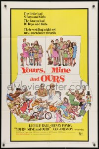 3j998 YOURS, MINE & OURS 1sh 1968 art of Henry Fonda, Lucy Ball & their 18 kids by Frank Frazetta!