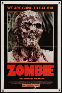 3j999 ZOMBIE 1sh 1980 Zombi 2, Lucio Fulci classic, gross c/u of undead, we are going to eat you!