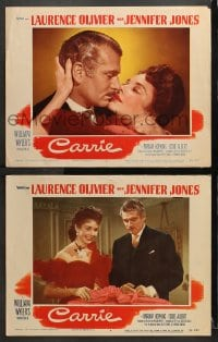 3k812 CARRIE 2 LCs 1952 amorous Laurence Olivier grabs pretty Jennifer Jones, William Wyler