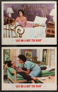3k813 CAT ON A HOT TIN ROOF 2 LCs R1966 both with Elizabeth Taylor as Maggie the Cat, Paul Newman!