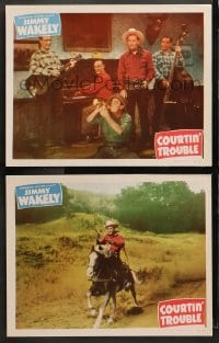 3k819 COURTIN' TROUBLE 2 LCs 1948 wacky western cowboys Jimmy Wakely, Dub Cannonball Taylor!