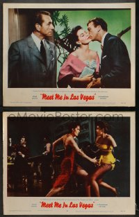 3k889 MEET ME IN LAS VEGAS 2 LCs 1956 one with Cyd Charisse & Montevecchi dancing Frankie & Johnny!