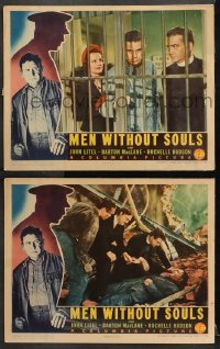 3k894 MEN WITHOUT SOULS 2 LCs 1940 great images of John Litel, MacLane, young Glenn Ford in both!