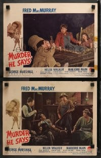 3k905 MURDER HE SAYS 2 LCs 1945 Fred MacMurray, Marjorie Main, Peter Whitney & Porter Hall!