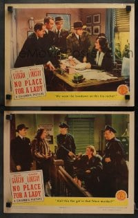 3k913 NO PLACE FOR A LADY 2 LCs 1943 William Gargan, Margaret Lindsay, he's MURDER with women!
