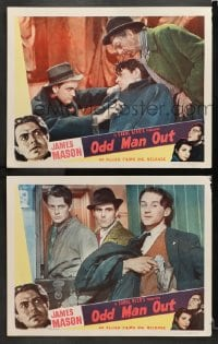 3k916 ODD MAN OUT 2 LCs R1952 James Mason with two others in Carol Reed's Gang War, English crime!