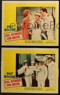 3k032 ALL HANDS ON DECK 8 LCs 1961 Navy Captain Pat Boone, sexy Barbara Eden, Dennis O'Keefe