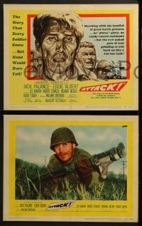 3k041 ATTACK 8 LCs 1956 WWII soldiers Lee Marvin, Jack Palance & Richard Jaeckel!