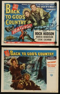 3k046 BACK TO GOD'S COUNTRY 8 LCs 1953 art of Rock Hudson & Henderson in Alaska, James Oliver Curwood!