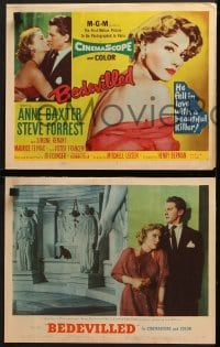 3k056 BEDEVILLED 8 LCs 1955 great images of Steve Forrest & sexy French Anne Baxter!