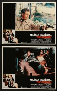 3k186 GETAWAY 8 LCs R1980 images of Steve McQueen & Ali McGraw with money & guns, Sam Peckinpah!